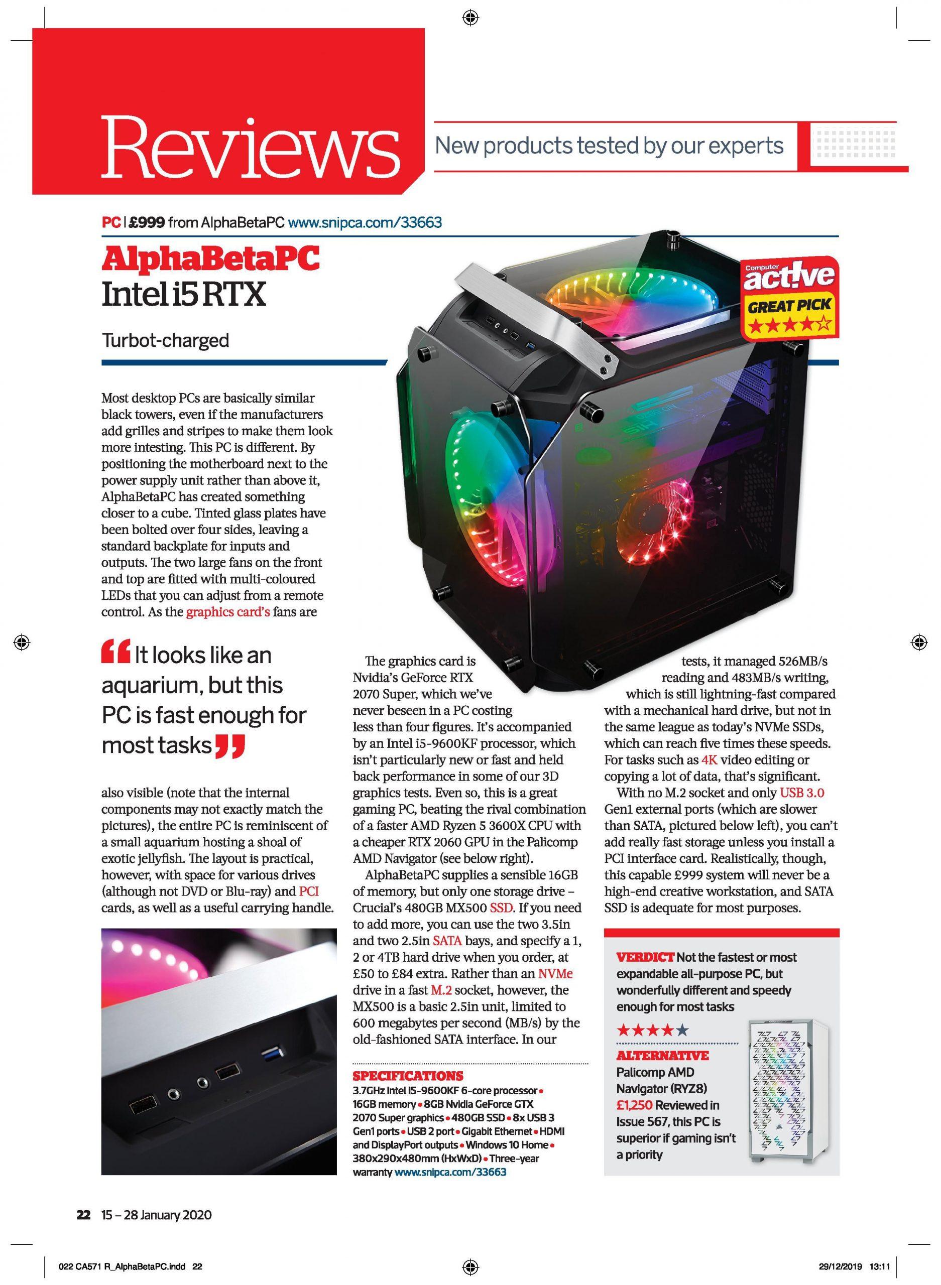 AlphabetaPC i5 RTX Computer Active Award Winning Gaming System